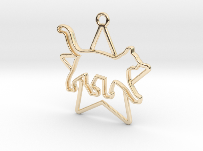 Cat & star intertwined Pendant 3d printed
