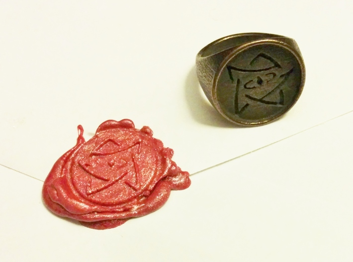 Elder Sign Signet Ring Size 8.5  3d printed Using sealing wax, you can make an elder sign to seal letters.
