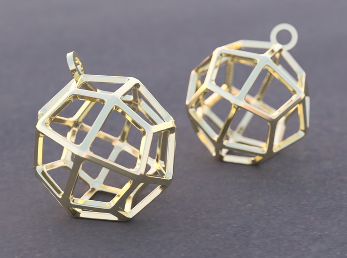 Deltoidal Icositetrahedron Earrings 3d printed Example rendering of earrings in 14K Gold Plated Brass