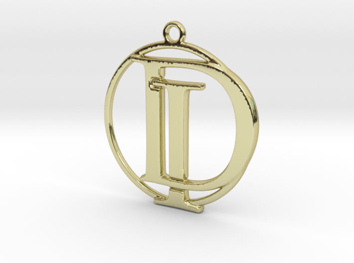 Initials D&I and circle monogram 3d printed