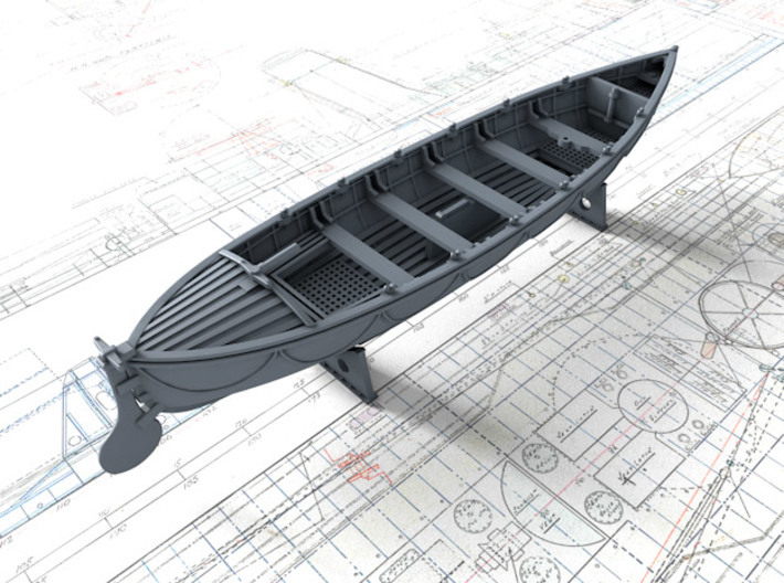 1/87 Royal Navy 27ft Whaler 3d printed 3d render showing product detail