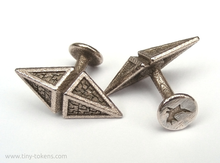 Zendikar Hedron Cufflinks 3d printed The cufflinks have a curved stem of 14 mm long, and a button with diameter 10 mm.
