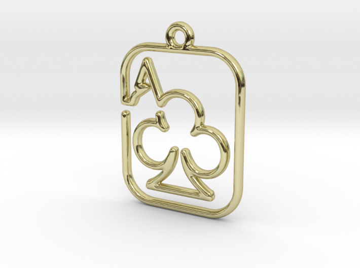 The Ace of Club continuous line pendant 3d printed