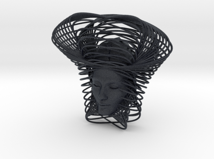 Wire Curve Art + Nefertiti (001c) 3d printed
