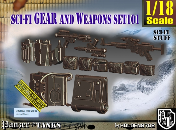 1/18 Sci-Fi Gear and weapons Set101 3d printed