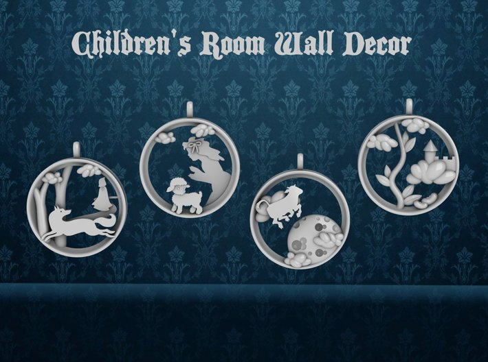 """Children's Wall Charms """"Jack and the Beanstalk"""" 3d printed 1 of 4 pieces."""