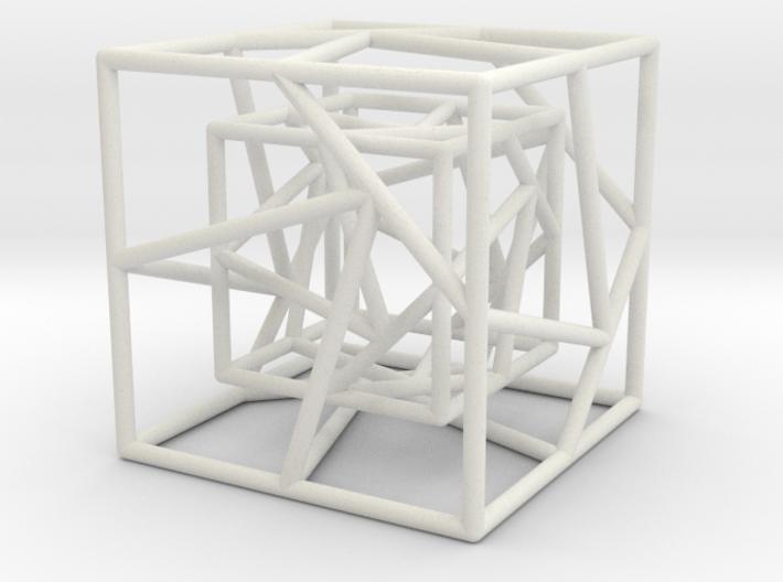Hyper cube pendant 3d printed
