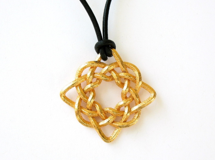 Celtic Compass 3d printed Front face of the pendant, printed in polished gold steel