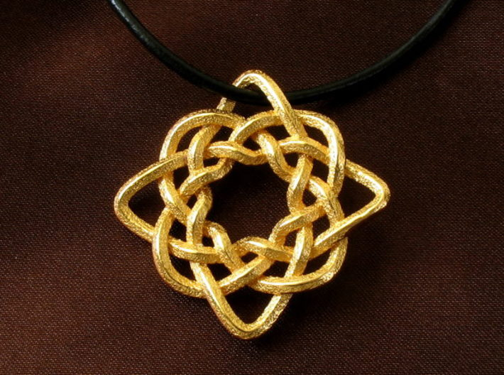 Celtic Compass 3d printed Pendant printed in polished gold steel