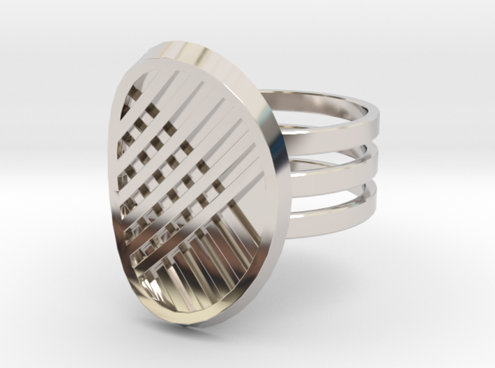 Three Stripe Ring 3d printed Rhodium plated brass