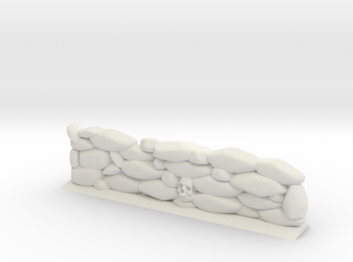 Stone Wall with Skull Head (28mm Scale Miniature) 3d printed