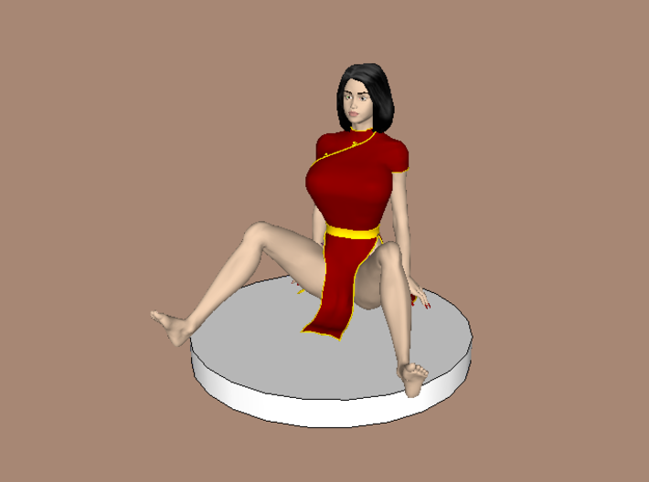 Chinese Girl Fell on Her Behind (28mm Scale) 3d printed Recommended Colors