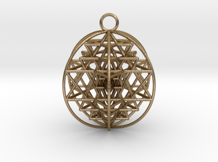 "3D Sri Yantra 6 Sided Optimal Pendant 2"" 3d printed"