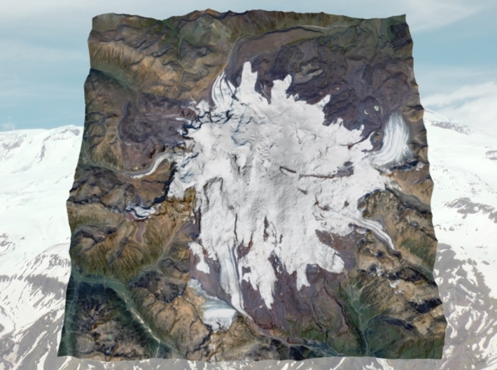 "Mount Elbrus Map, No VE: 8""x8"" 3d printed"