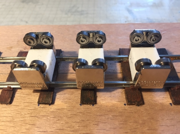14mm Gauge Spacers for DCC Concepts Rolling Road 3d printed Spacers fitted to the DCC Concepts Rolling Road