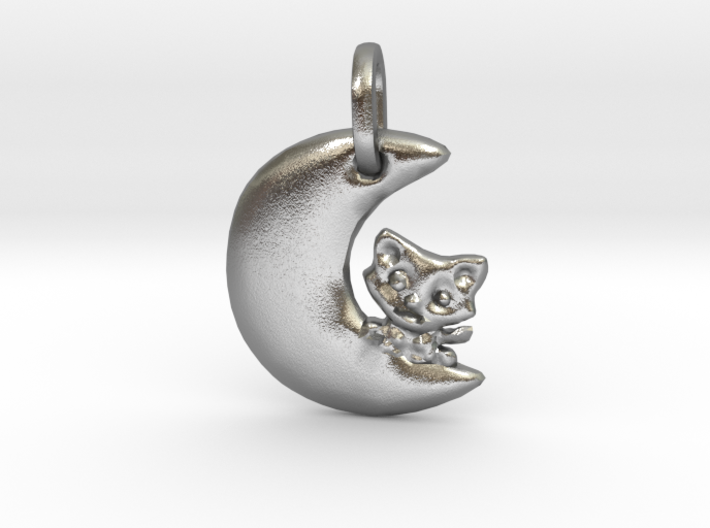 Crescent Moon and Cat Pendant 3d printed