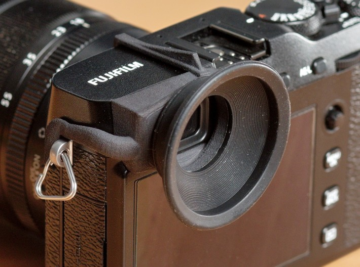 Eyecup adaper for Fuji X-E3 3d printed Adapter with JJC eyecup attached