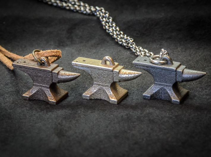 Anvil Pendant - Original Design 3d printed Various Metals