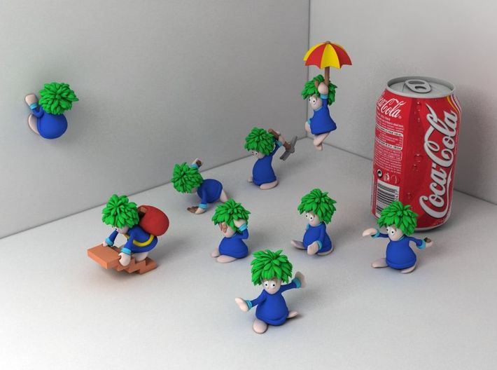 Lemming Walker (Large and in Color) 3d printed All lemmings together