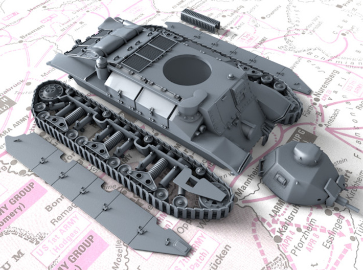 1/56 French Char D2 Medium Tank 3d printed 3D render showing Kit parts