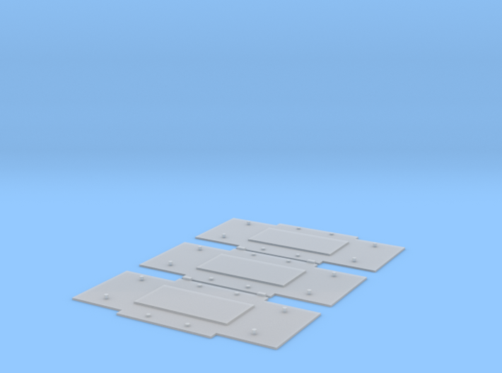 Baseplates for Bedford wagon-axleguards, 9' 6 w/b 3d printed