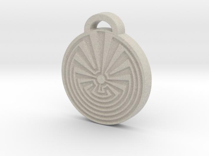 Radial Labyrinth Aromatherapy Pendant 3d printed