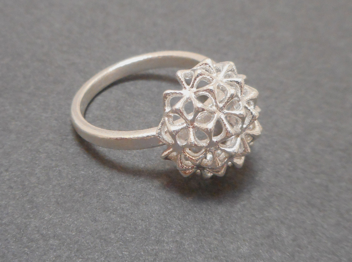 Virus Ball - Ring in Cast Metals 3d printed