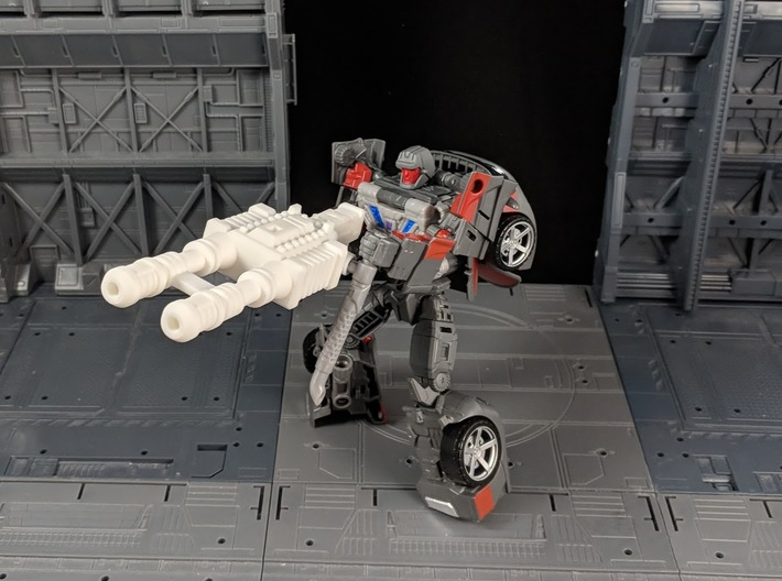 TF CW Stunticon Car Cannon Adapter 3d printed Combined with a Car Cannon in Robot Mod
