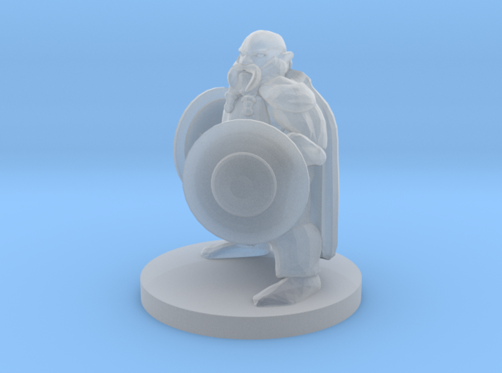 Dwarf Fighter with Two Shields 3d printed