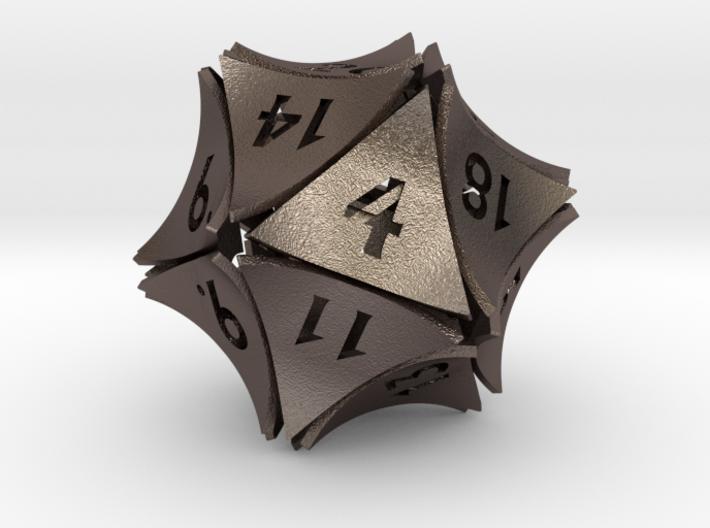 Peel Dice - D20 (twenty sided gaming die) 3d printed
