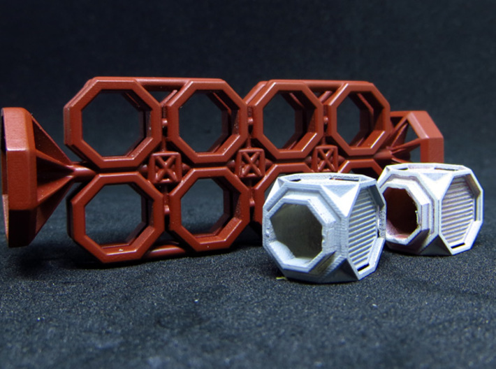 BYOS PART FRAME SKELETON NANO CONTAINER OCTO 3d printed Example with nano containers Hex lip (sold apart).