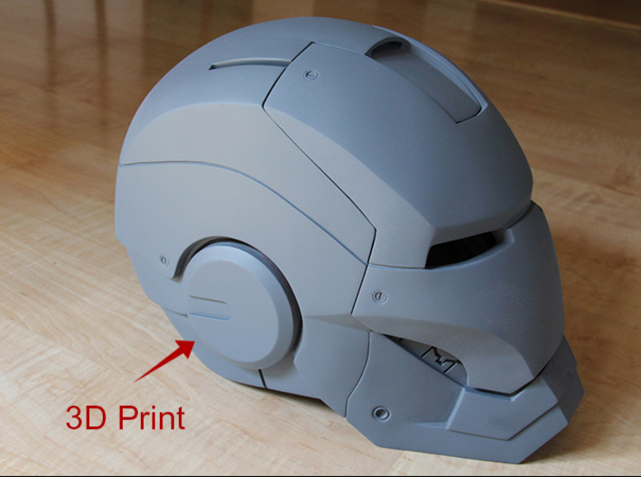 Iron Man Helmet EarPiece (x1) 3d printed Actual 3D print using Strong & Flexible Plastic.  Incorporated into Handmade Helmet.