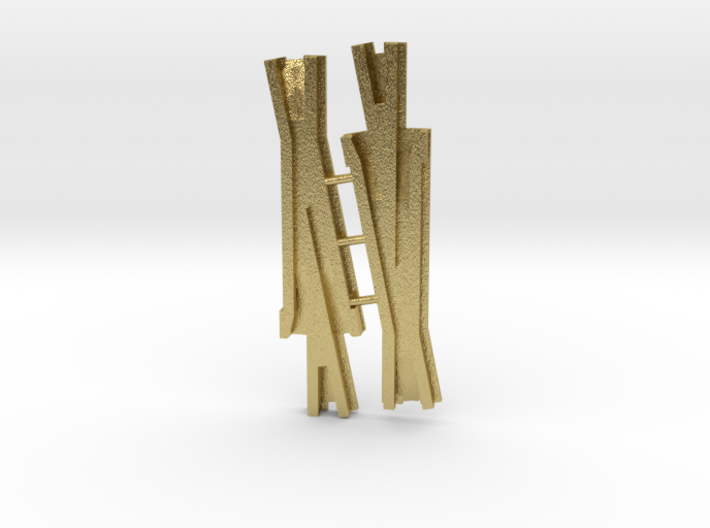 #6 Code 83 switch frog (pair) 3d printed As printed by Shapeways in Brass