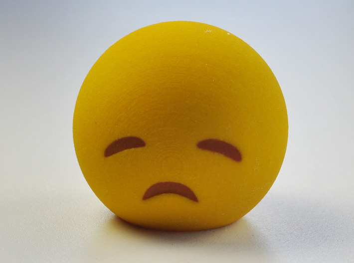 3D Emoji Sad with Eyes Closed 3d printed