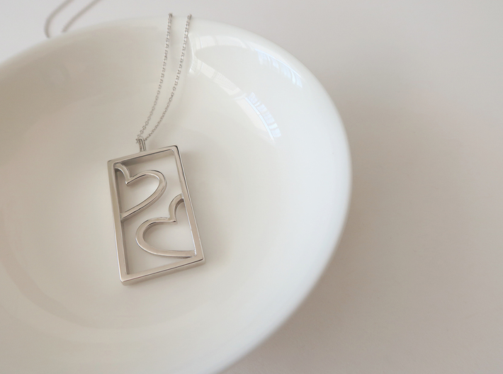 Hearts 3d printed Rhodium Plated Brass L
