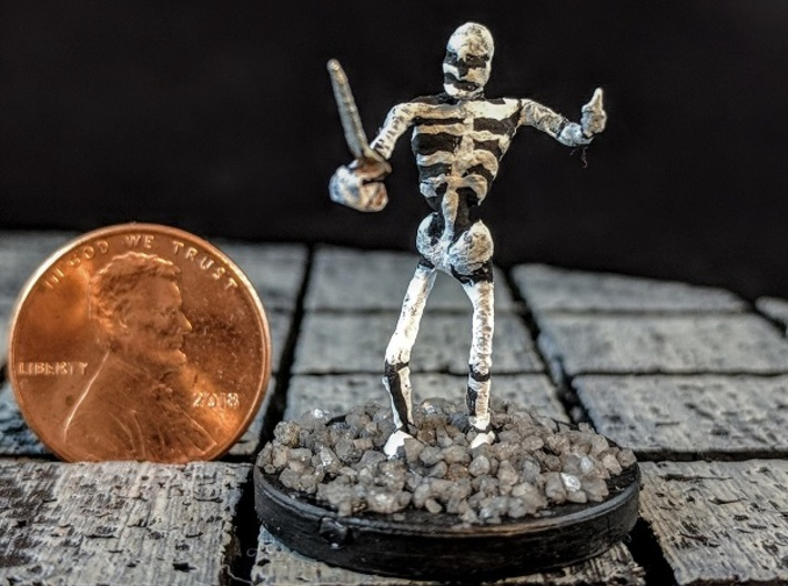 Skeleton with Attitude 3d printed Example of a painted model with added base.