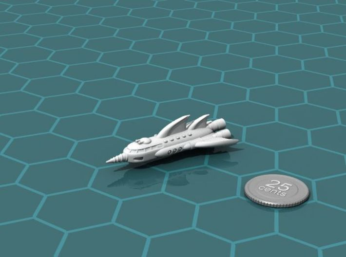 Phantom Raider 3d printed Render of the model, with a virtual quarter for scale.