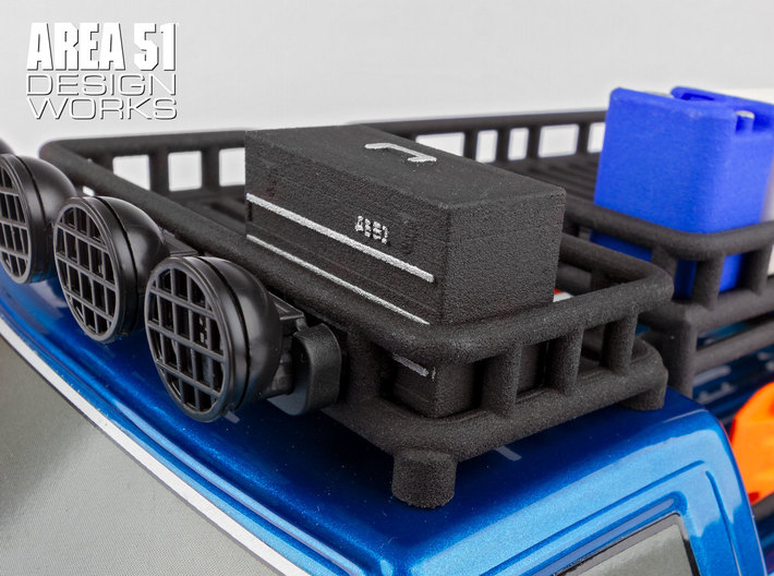 12th Scale Toolbox 3d printed Shown installed onto Overland Roof Rack after detailing