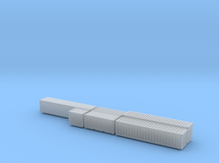 Cargo shipping containers x6 set 3d printed