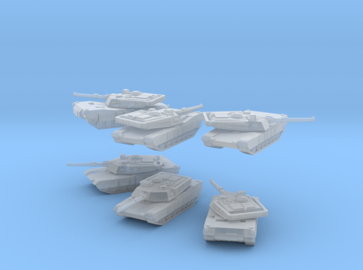 Abrams M1A1 1/350 scale set of 6 3d printed The turrets are separate and poseable through 360°