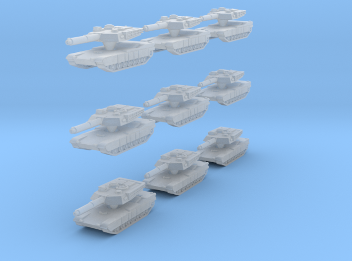 Abrams M1A1 MBT SET OF 9  3d printed With the cage removed - 18 separate pieces!