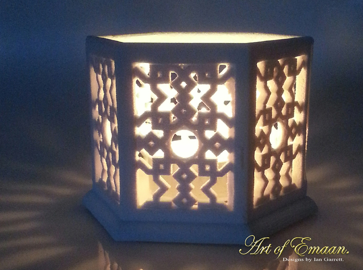 Large Islamic Geometric Candle Lantern. 3d printed Sandstone print illuminated with candle.