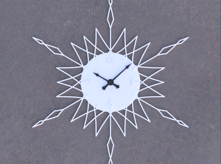 Sunburst Clock - Anya 3d printed Render of clock face with hands added