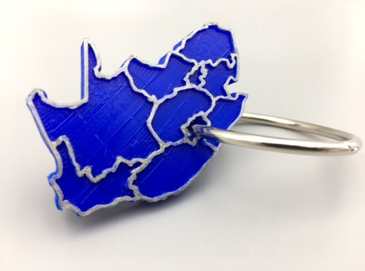 South Africa Keychain 3d printed Desktop printed version with painted boundaries and ring added