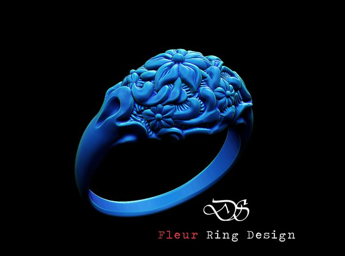 """Fleur"" Dome Ring 3d printed"