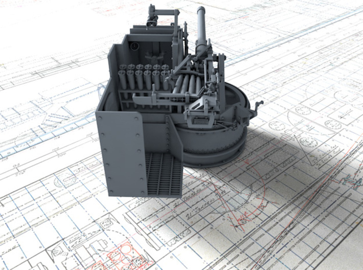 1/35 6-pdr (57mm)/7cwt QF MKIIA Aft (MTB) 3d printed 3D render showing product detail