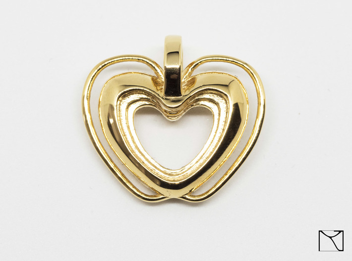 Heart Pendant 3d printed 18k gold plated