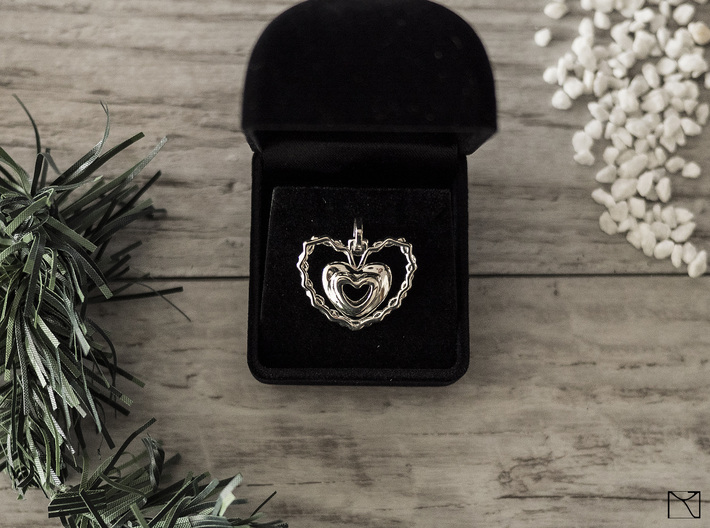 Heart Pendant 3d printed Polished Silver