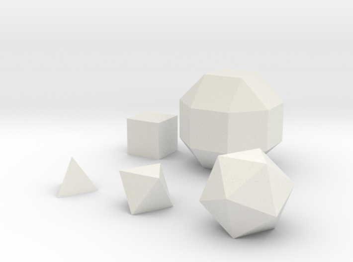 Basic geometric shapes D4 D6 D8 D20 and D26 3d printed