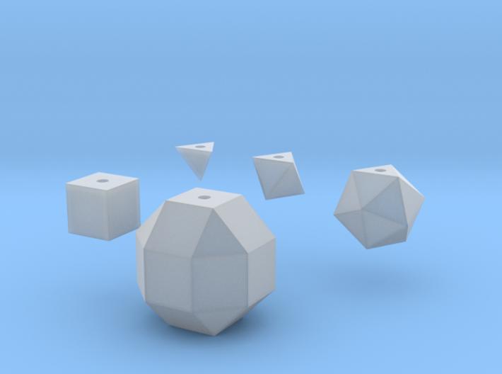 Basic geometric shapes D4 D6 D8 D20 D26 (hollow) 3d printed